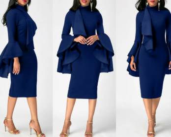 Outfit Of The Day: The Flare Sleeve Mock Neck Sheath Dress